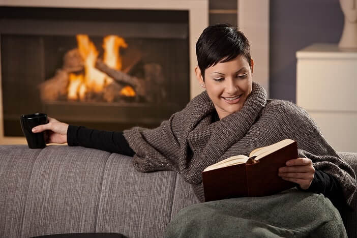 Woman enjoying warm home