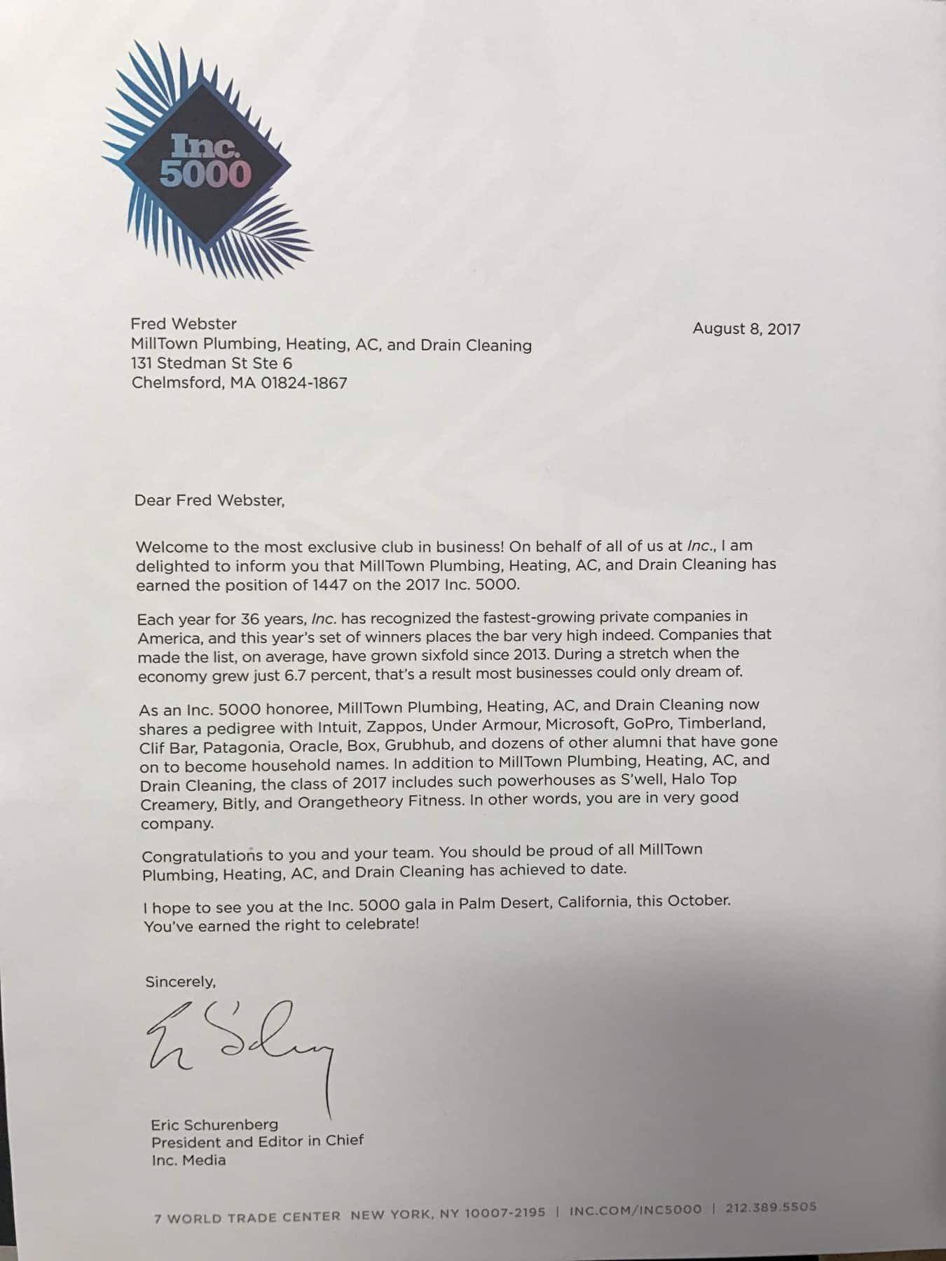 Inc. 5000 Award Letter