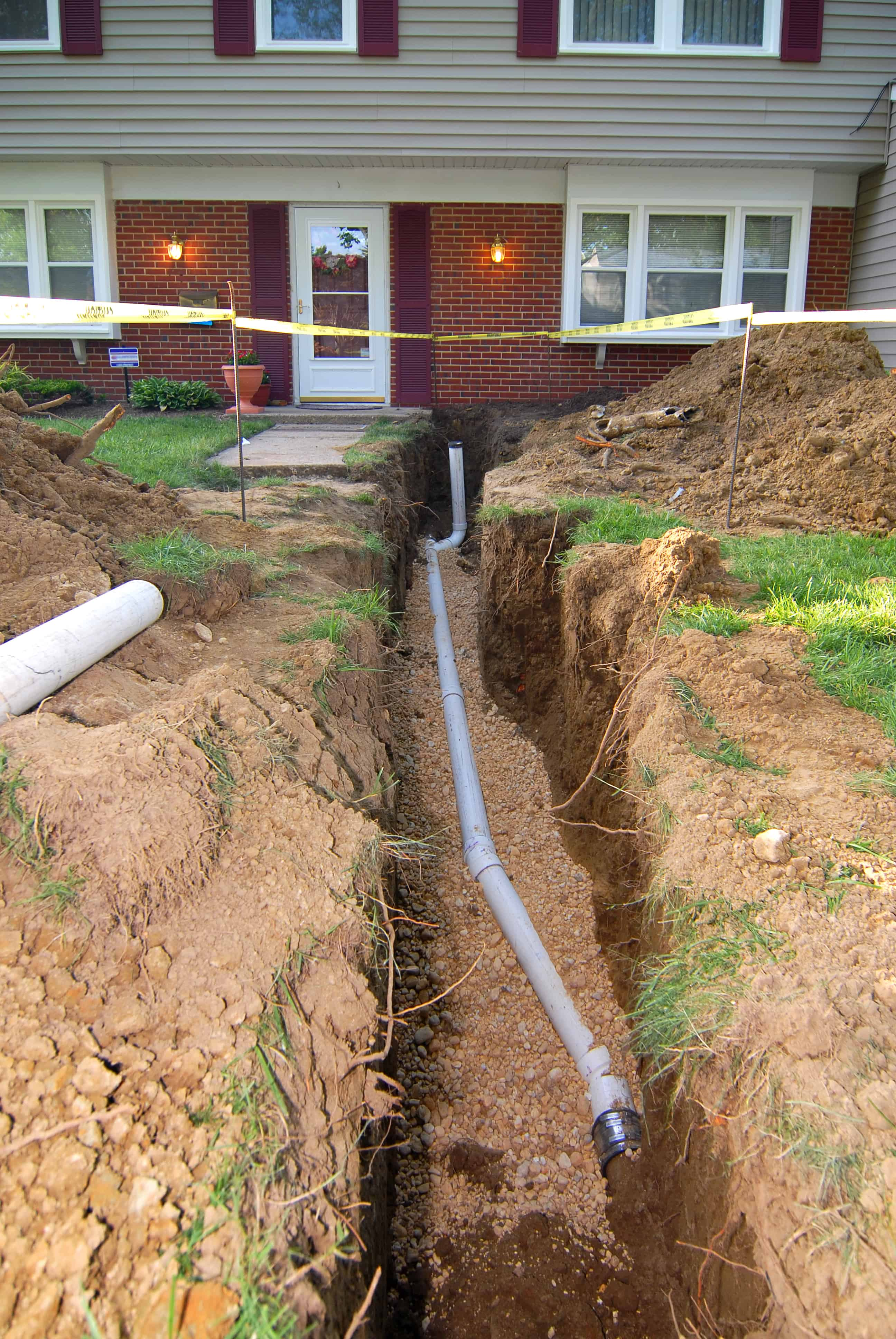 Main line being worked on outside of a home